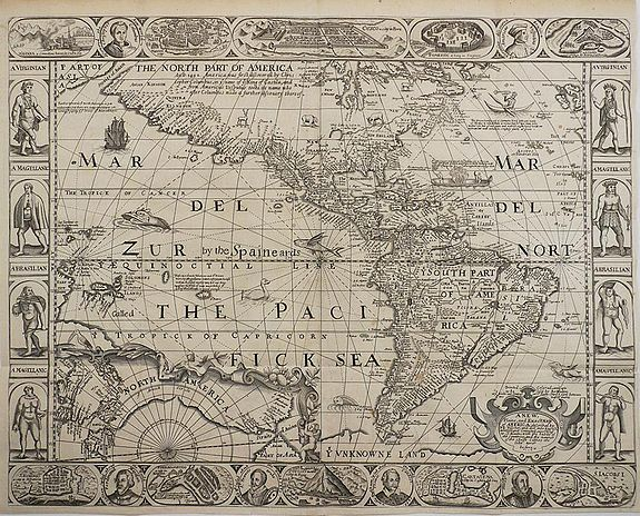 WALTON, R., A New Plaine and Exact Map of America., antique map, old maps