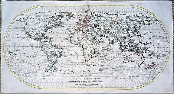 LOTTER, Mathäus Albrecht - Mappemonde ou carte generale de l`Univers ... avec le tour du monde du Lieut. Cook ...