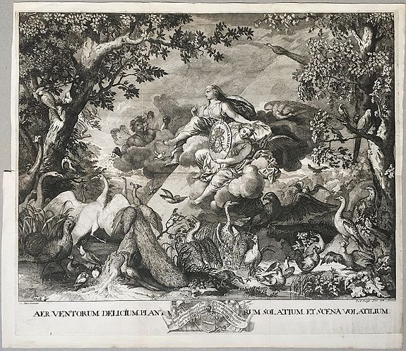 LE BRUN, Charles / BERGE, Pieter van den. - AER / TERRA / AQUA / IGNIS FERRI FUSOR. . . [4 elements]