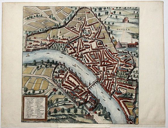 BRAUN, G. / HOGENBERG, F., Basilea. (Basel), antique map, old maps
