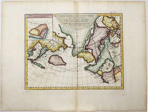DE L'ISLE / DIDEROT, D. - Carte Generale des Decouvertes de l'Amiral de Fonte, . . (Explorers)