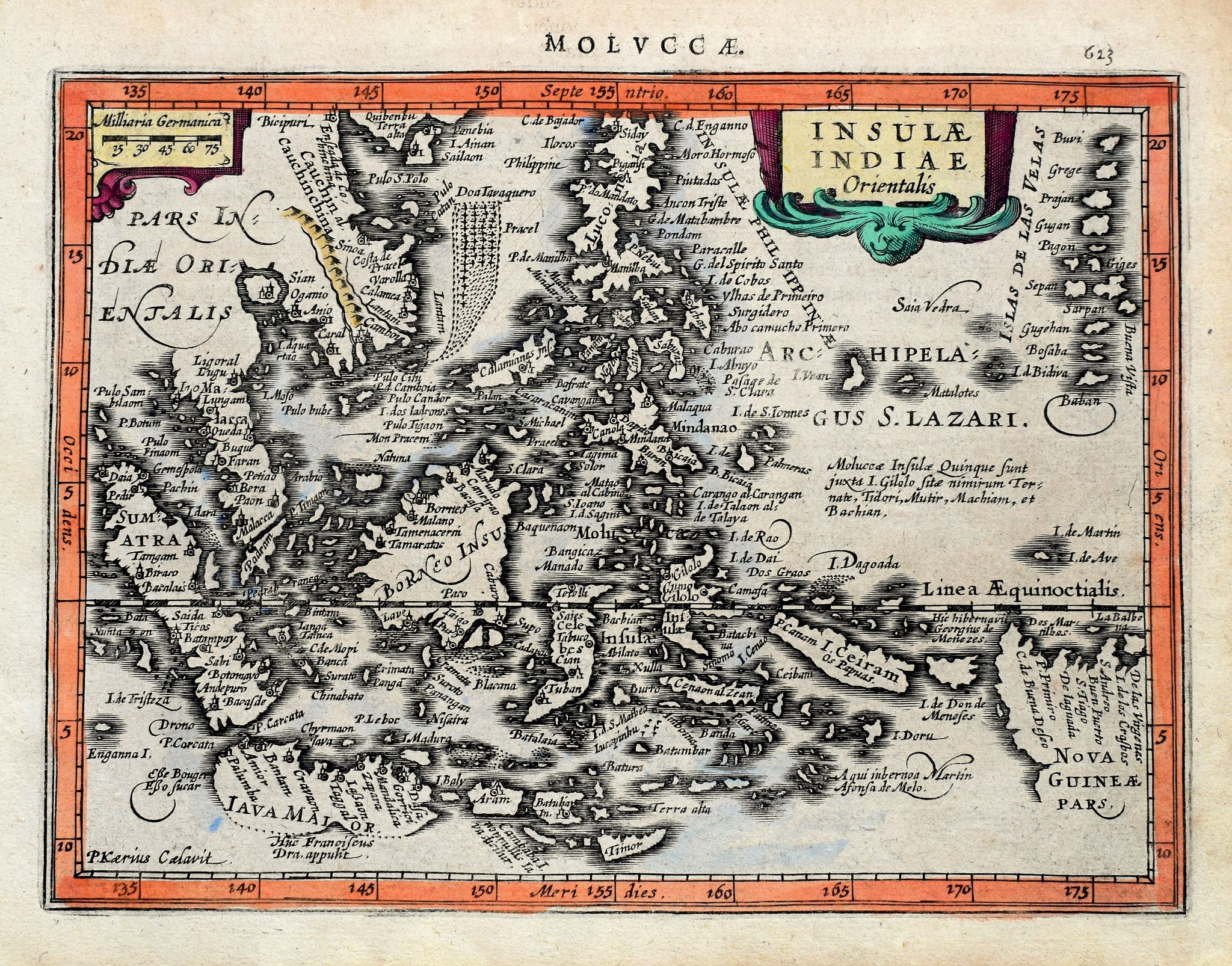 KAERIUS, P., Insulae Indiae Orientalis., antique map, old maps