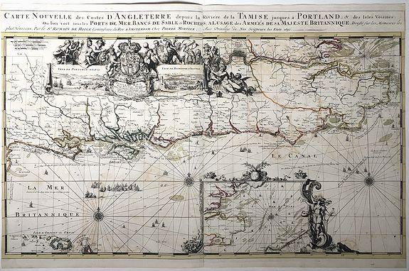 DE HOOGHE, Romeyn / MORTIER, Pierre - Carte Nouvelle des Costes d'Angleterre depuis la Riviere de la Tamise jusques à Portland. . .1693.