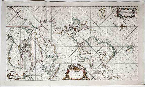 OTTENS, Reiner & Josua. - Totius Europae Littora ... Pascaert vertoonende alle de See-Custen van Europa.