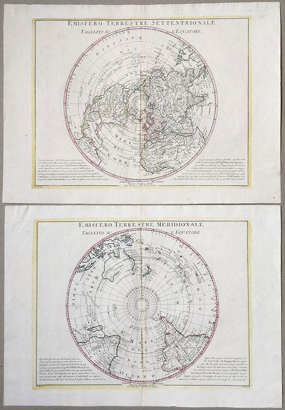 ZATTA, A. - Emisfero terrestre Meridionale Tagliato Su l'Equatore & Emisfero terrestre Settentrionale Tagliato su l'equatore.