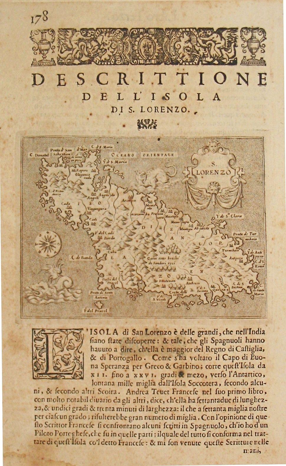 PORCACCHI, T. - Map of Madagascar. Plus 2 prints of inhabitants of Madegascar