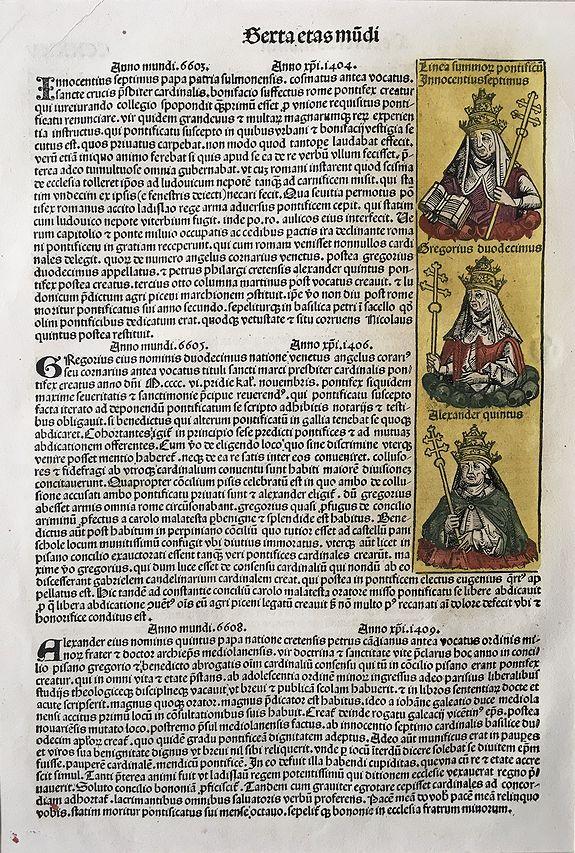 SCHEDEL, Hartmann  WOLGEMUT, Michael, PLEYDENWURFF - Linea summon pontifical: Innocentius Septimus, Gregorius Duodecimus, Alexander Quintus.