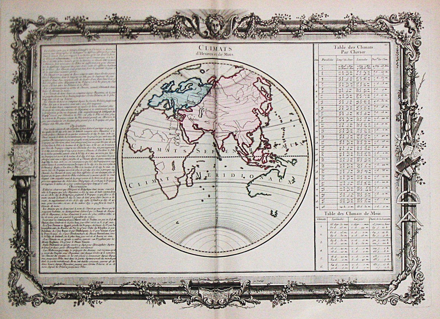 Claude Buy de Mornas. - Antique map depicting the world] Climats d'Heures et de Mois.