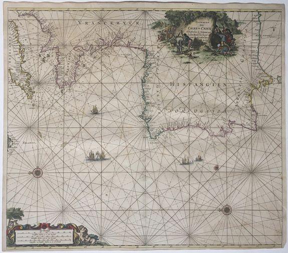 KEULEN, Johannes van; LEUPENIUS, J. - Paskaart Van Cales tot Cadix.