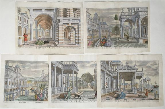 HONDIUS, Hendrick, after VREDEMAN DE VRIES, Paul - The Architectural Orders and the Five Senses - [Set of Five prints]