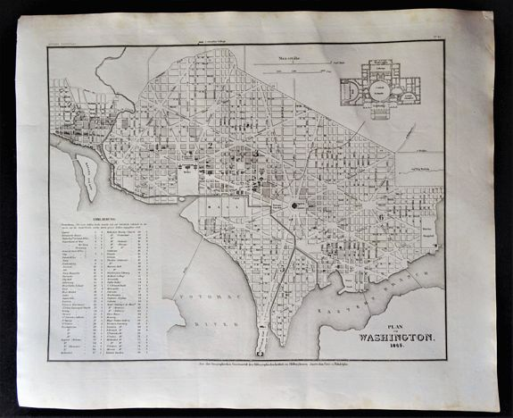 MEYER, H.J. -  Plan von Washington 1845.
