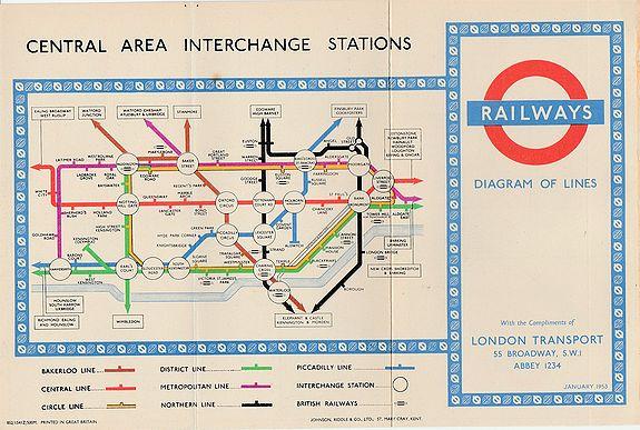 BECK, Harry. - 1953 Harry Beck London Underground map.