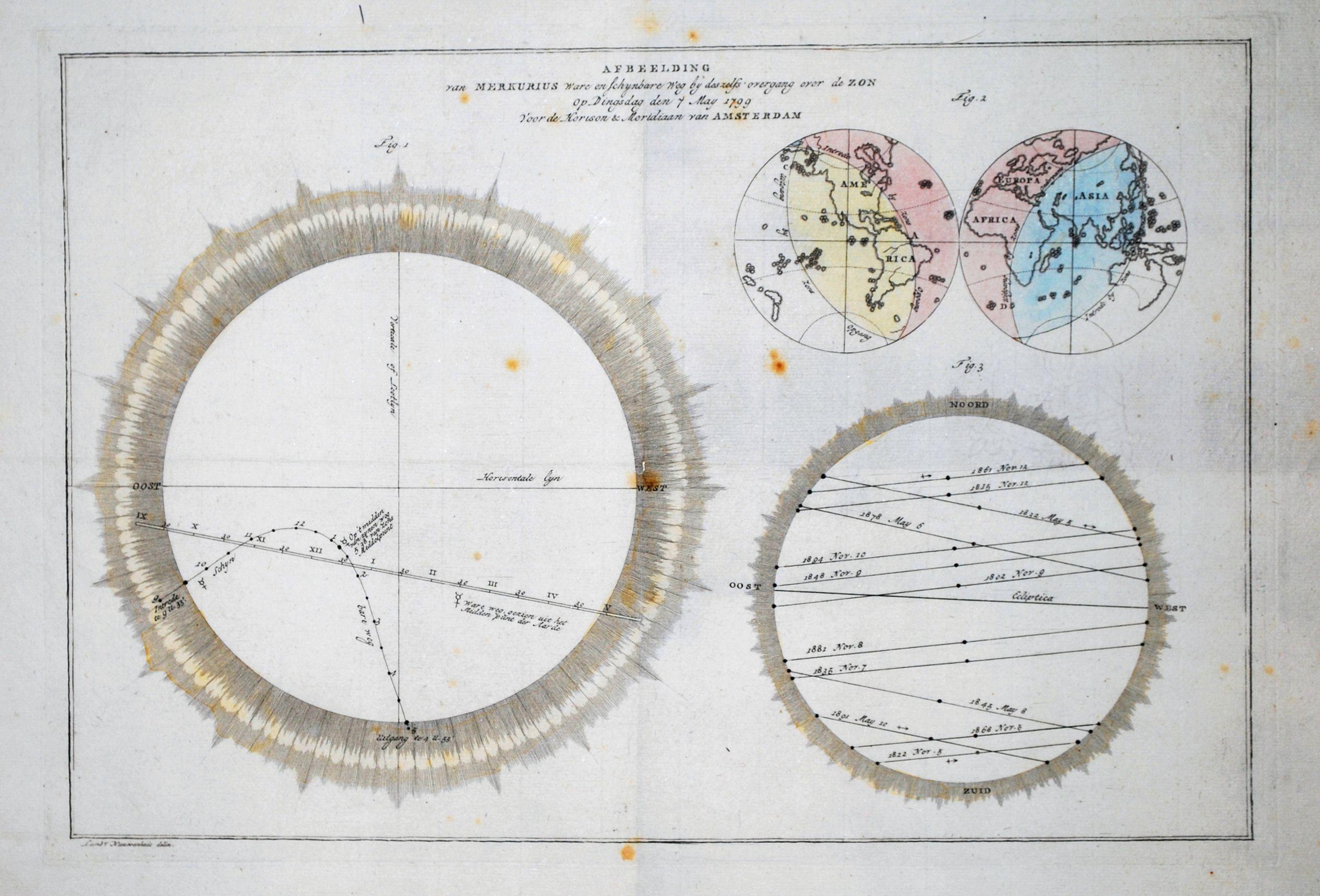 NIEUWENHUIS, L. Boerjes, J.P - Afbeelding van MERKURIUS Ware en schynbare Weg by deszelfs overgang over de ZON op Dingsdag den 7 May 1799 Voor de Horison en Meridiaan van AMSTERDAM. Plus Boerjes, J.P. Stereographische Projectie van de Aardkloot; in de Maan-Eclips op den 11den Julij 180