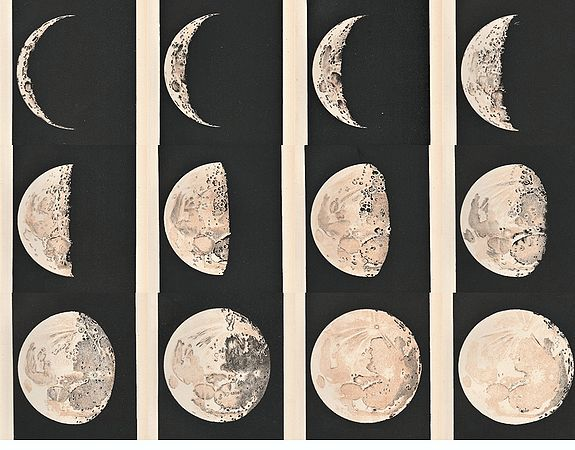 BALL, Sir Robert Stawell. - A complete set of lithographs the 12 Stages of the Moon.