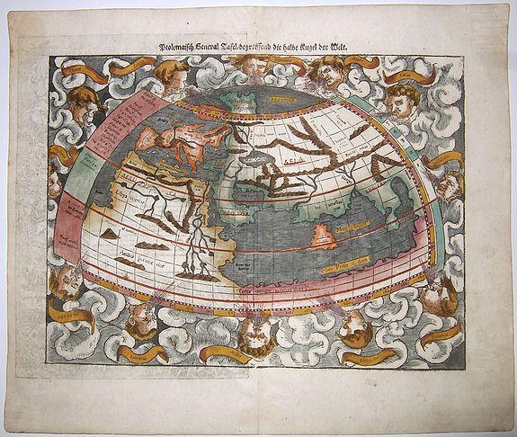 MÜNSTER, Sebastian. - Ptolemaisch General Tafel / begreiffend die halbe Kugel der Welt. [World map after Ptolemy]