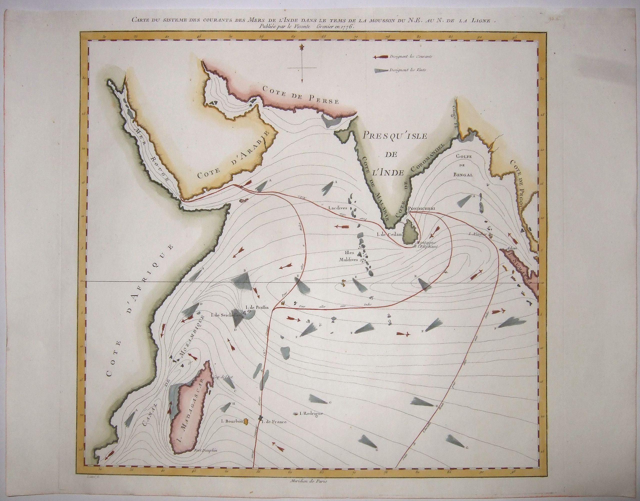 DE GRENIER,  Vicomte. - Carte du Sisteme des Courants des Mers de l'Inde dans le Tems de la Mousson du N.E. au N. de la Ligne, Publie. . .