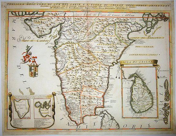 CORONELLI, Vincenzo Maria  - Penisola Dell'Indo Di Qua Del Gange E L'Isola Di Ceilan Nell'Indie Orientali . . [Southern India and Sri Lanka]