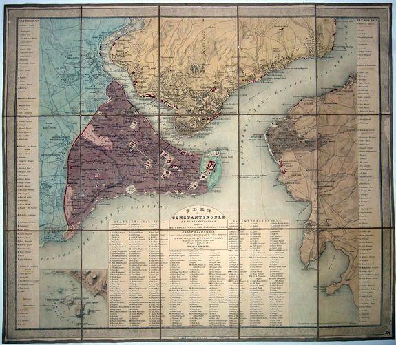 HELLERT, J. - Plan de Constantinople et de ses faubourgs d'après Kauffer. . . et Joseph de Hammer avec l'indication des quartiers de la ville (Mahalle) et les changements qui s'y sont opérés depuis les années 1776 et 1786. . .