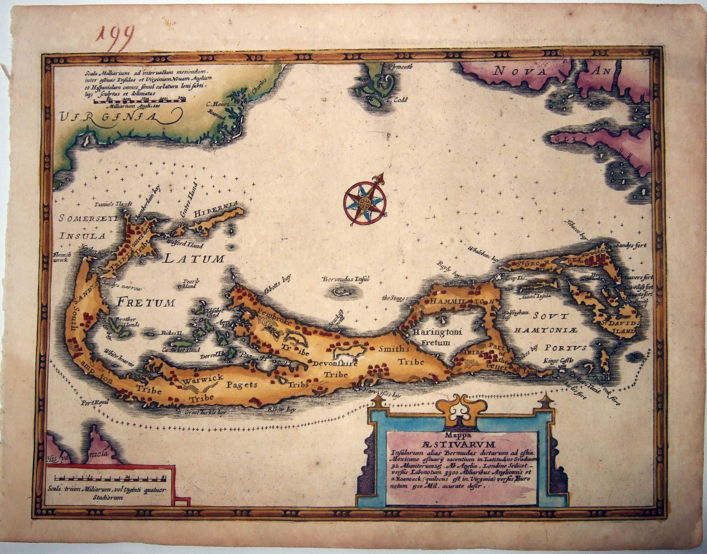 WAESBERGE, Johannes Janssonius van.  -  Mappa Aestivarum Insularum, alias Bermudas dictarum. . .