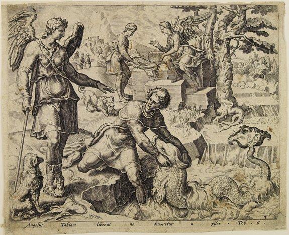DE JODE, P.(?). - Angelus Tobiam liberat ne deuoretur a pisce Tob.6.
