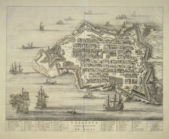 BLAEU, Joan / MORTIER, P. - Valleta ou Valet Ville Forte de l'Isle De Malta