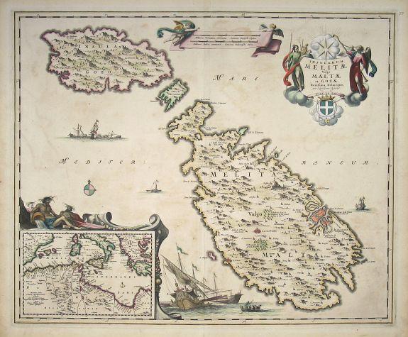 VISSCHER, Nicolas, Insularum Melitae vulgo Maltae et Gozae Novissima Delineatio per Nicolaum Visscher, antique map, old maps