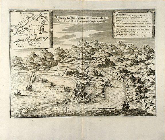 Merian, M. - Abbildung der Statt Gigeri in affrica, wie solche der König in Franckreich durch den Hertzogen de Beaufort eingenohmen