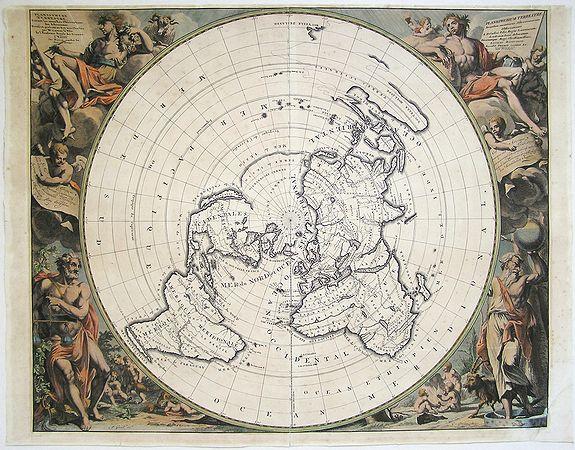 CASSINI, JEAN D. / AA, PIETER VANDER - Planisphere Terrestre Suivant les nouvelle Observations des Astronomes Dressee et presente Roy Tres Chretien par Mr. Cassini...