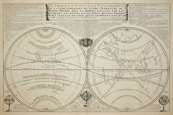 DE FER, N. - Introduction a la Geographie de la Correspondance du Globe Terrestre . . .
