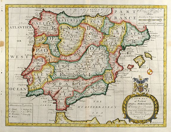 Map Of Spain Old.Old Map By Wells A New Map Of Present Spain Portugal