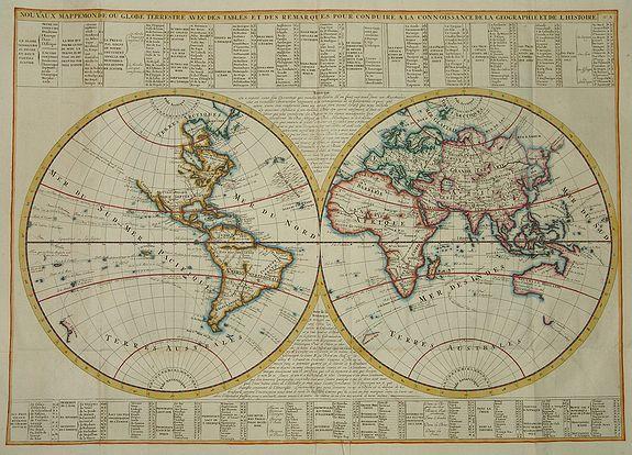 CHATELAIN, H. - Nouvaux Mappemonde ou globe terrestre avec des tables et des ...