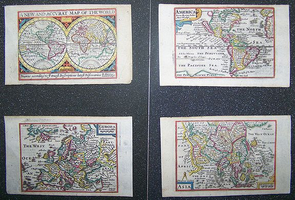 KAERIUS, P. / SPEED, J. - (Lot of 4 maps)  A new and accurate map of the World.   Americas.  Europe.  Asia.