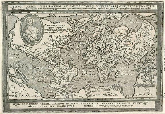 QUAD, M. - Typus Orbis Terrarum, ad imitationem universalis Gerhardi Mercatoris.