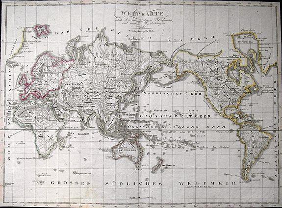MOLLO, T. - Weltkarte nach den vorzüglichsten Hülfsmitteln und neuesten Entdeckungen verfasst.
