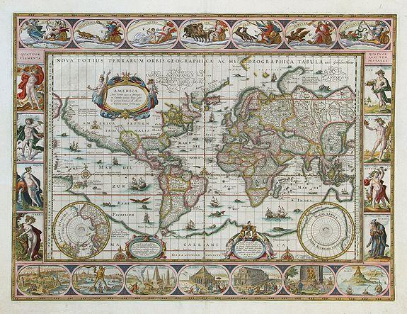 BLAEU, W. - Nova Totius Terrarum Orbis Geographica Ac Hydrographica Tabula.