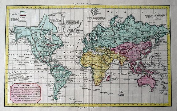 DELAMARCHE, C. F. - MAPPE-MONDE ou CARTE GENERALE de toutes les parties du GLOBE, MAPPE-MONDE ou CARTE GÈNÈRALE de toutes les parties du GLOBE, corrigée et augmentée des Découvertes du Cap. COOK, de celles de la PEROUSE en 1801, de VANCOUVER, de MACKENSIE en 1802...