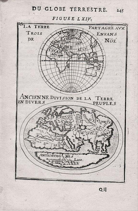 MALLET, Allain Manneson - La Terre Partageeaux Trois Enfans de Noe / Ancienne Division dela Terre Endiuers Peuples Du Globe Terrestre.
