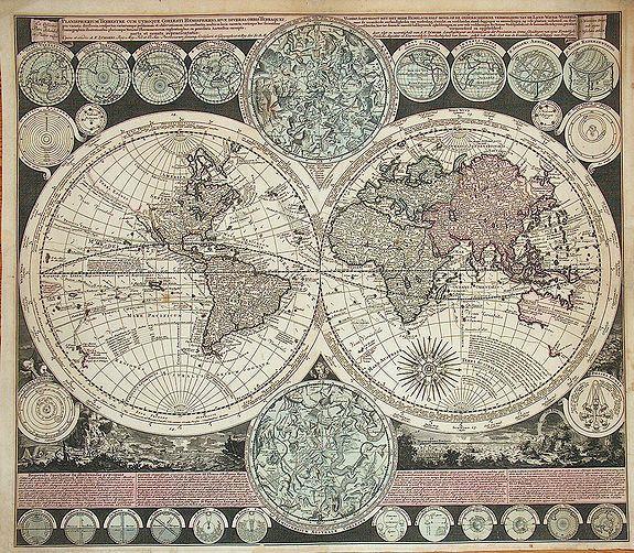 ZURNER, / SCHENK, P. - Planisphaerium terrestre, cum utroque coelesti hemesphaerio, sive diversa orbis terraquei.