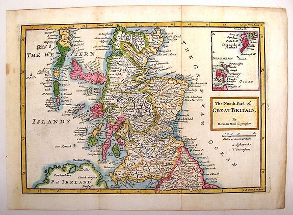 MOLL, H., The North Part of Great Britain., antique map, old maps