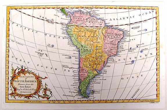 ROLLOS, G., An Accurate Map of South America Drawn from the Sieur Robert., antique map, old maps