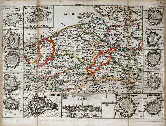 DE LA FEUILLE, P. - Nouvelle carte du Comte de Flandre.