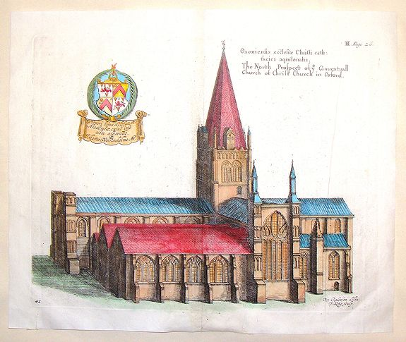 KING, D., The North Prospect of ye Conuentuall Church of Christ in Oxford., antique map, old maps