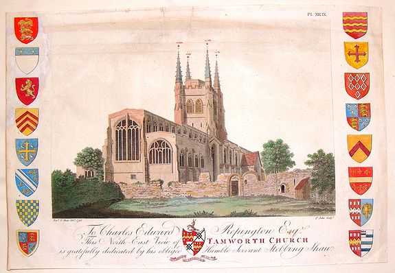 JUKES, F., North-East View of Tamworth Church., antique map, old maps