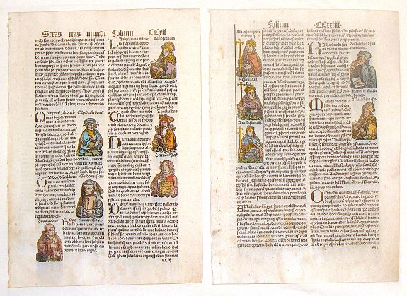 SCHEDEL, H. - Two Schedel Nuremberg Chronical Woodcut Pages.