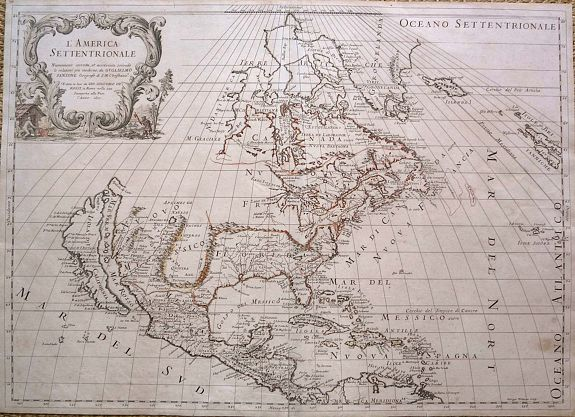 ROSSI, G., L'America Settentrionale., antique map, old maps