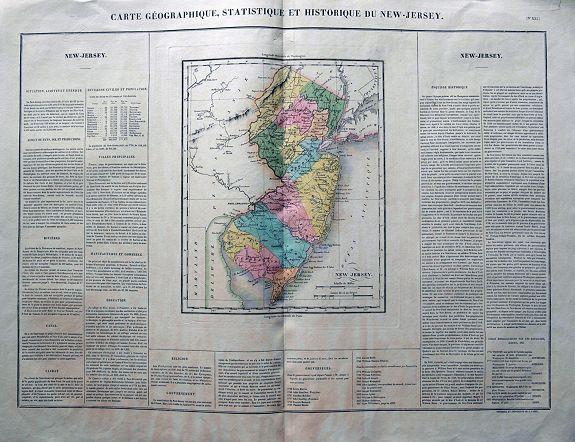 BUCHON, A. - Carte Geographique, Statistique et Historique Du New-Jersey.