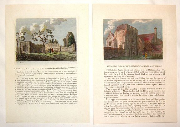 GROSE, F., (2 Engravings) The Chapel of St. Pancrace, in St. Augustine's Monastery, Canterbury & The Great hall of the Archbishop's Palace, Canterbury, antique map, old maps