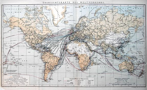 BROCKHAUS, F. A. - Übersichtskarte des Weltverkehrs.