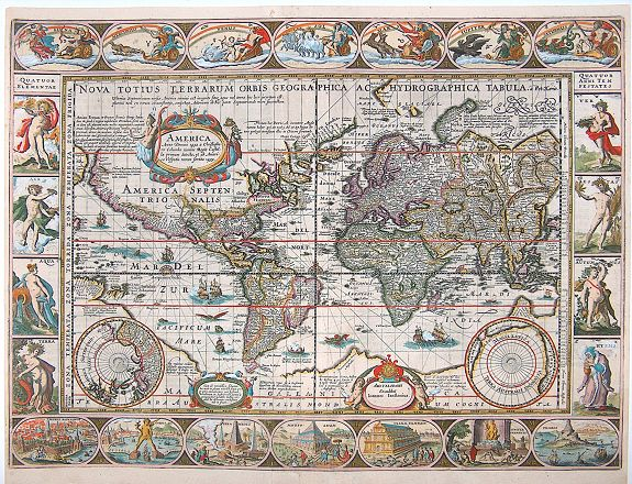 KAERIUS, P.  - Nova Totius Terrarum Orbis Geographica Ac Hydrographica Tabula.