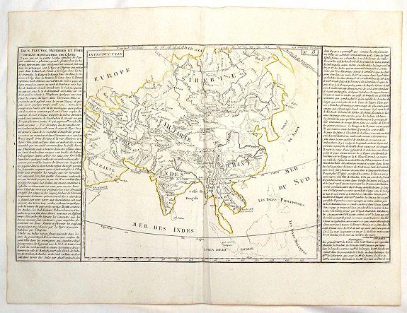 CLOUET, J. - Lacs, Fleuves, Rivieres et Principales Montagnes de L'Asie.